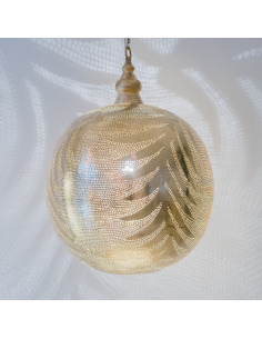 Suspension orientale Ball Leaf Ø40cm XL Gold en laiton couleur or par Zenza