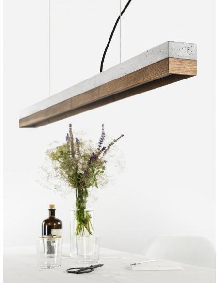 Suspension design en béton et noyer C1 au design industriel et minimaliste par Gant Lights