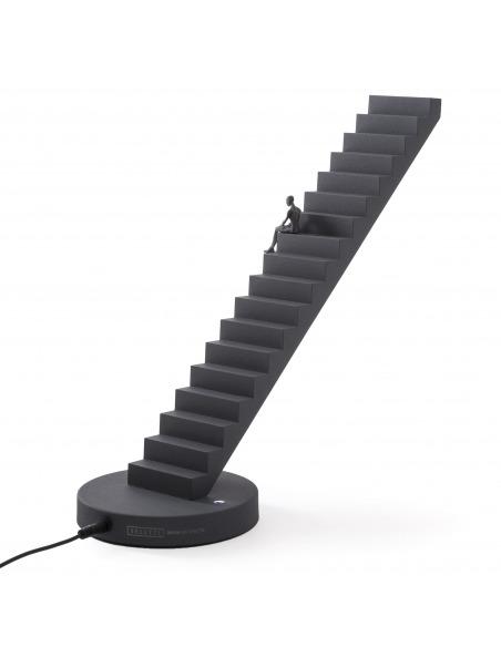 Lampe à poser Verso anthracite dimmable avec touch sensitive en forme d'escalier par Gio Tirotto X Seletti