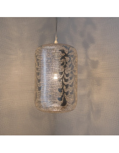 Suspension orientale Lampoon Blossom Ø38cm Medium en laiton couleur argent par Zenza