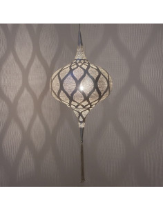 Suspension orientale Grace Moorish Ø31cm Medium en laiton couleur argent par Zenza