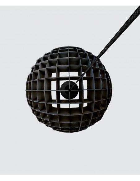Suspension géométrique Arc Lustre en bouleau noir