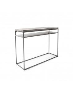 Console avec étagère Perspective en métal et double plateau en béton au style industriel par Lyon Beton