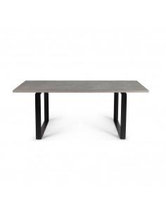 Table à manger ALPS en béton et piètement en acier au design industriel par Lyon Beton