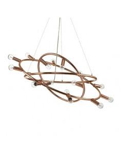 Suspension circulaire Mecani 15 en métal avec finition en cuivre au design contemporain