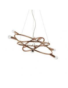 Suspension circulaire Mecani 9 en métal avec finition en cuivre au design contemporain
