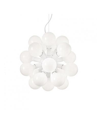 Suspension Lucie 20 en métal blanc au design contemporain