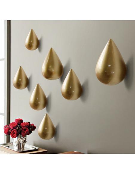 Porte-Manteau crochet DROP Gold en bois en forme de goutte d'eau