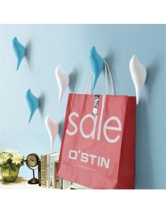 Patère crochet à fixation murale BIRD couleur blanc ou bleu ciel en forme d'oiseau en bois