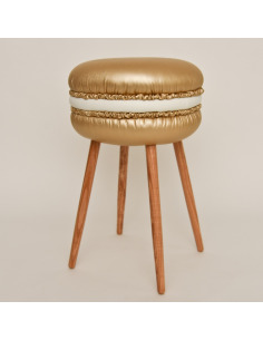 Tabouret original Makastool Gold en forme de macaron en similicuir par LI-Ving Design