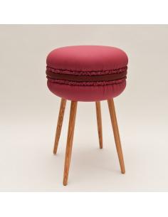 Tabouret original Makastool Cherry en forme de macaron en similicuir par LI-Ving Design