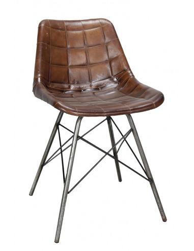 chaise au design vintage eames avec pitement en acier et assise en cuir rembourr rayures - Chaise Acier