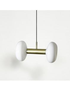 Suspension vintage Gambi Two en acier laitonné et verre soufflé par Eno studio