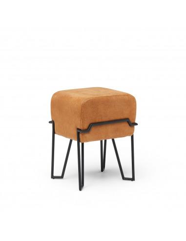 Tabouret design en cuir Bokk au design graphique par Ka-Lai Chan X Puik Art