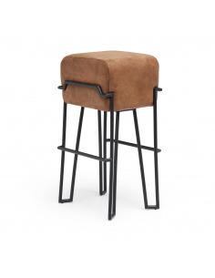 Tabouret haut en cuir Bokk bar au design graphique par Ka-Lai Chan X Puik Art