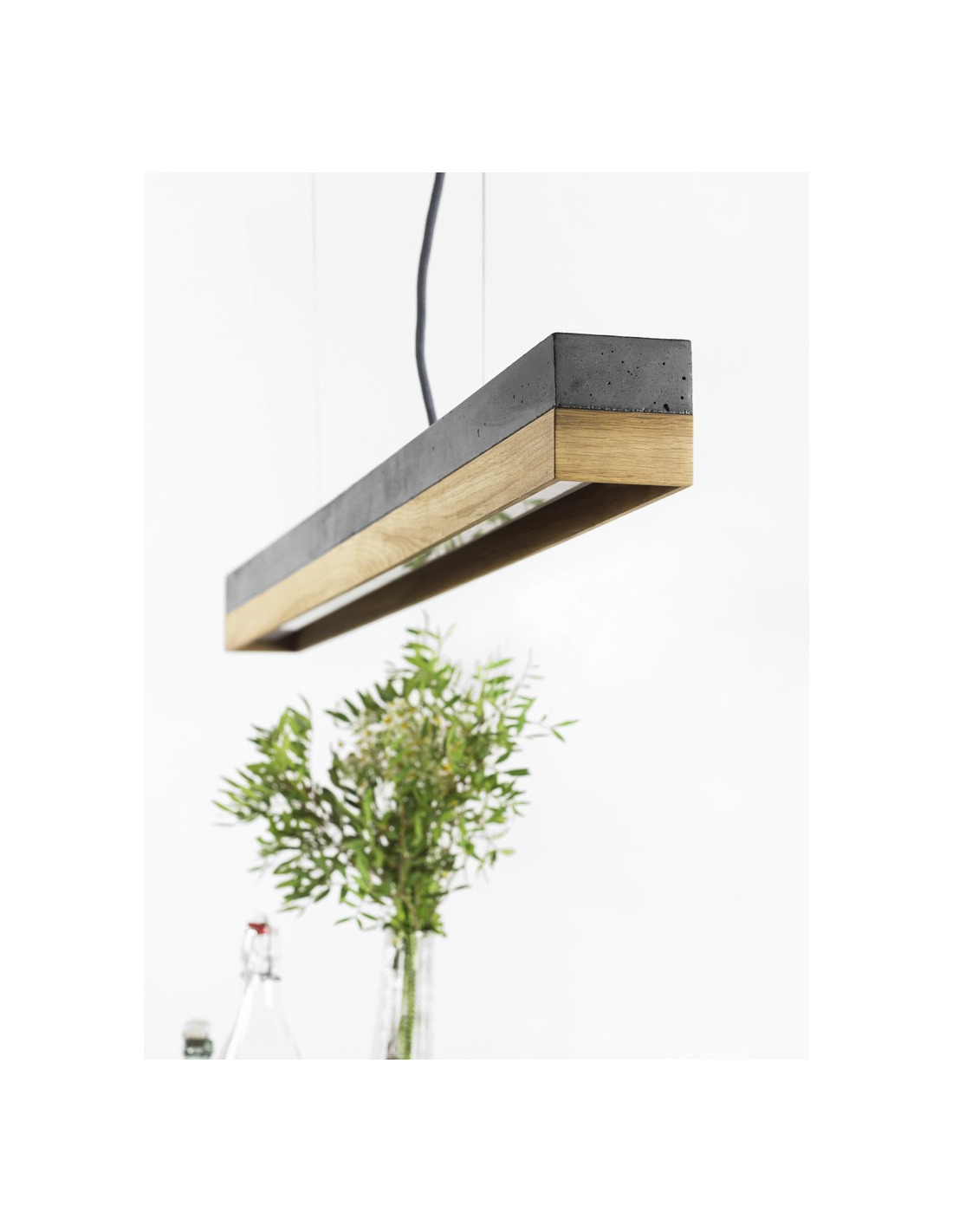 Suspension design c1 rectangular bois ch ne noir en b ton for Suspension bois