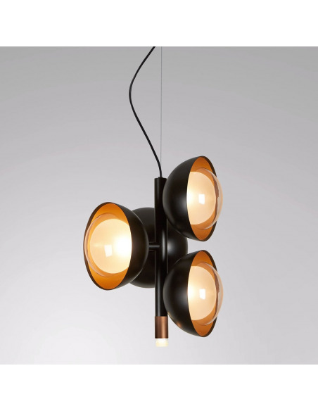 Suspension design Muse 5 Led en laiton brossé au design chic par Corrado Dotti X Tooy