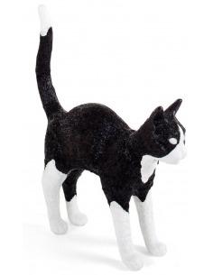 Lampe à poser Felix noir et blanc en résine en forme de chat par Studio Job X Seletti