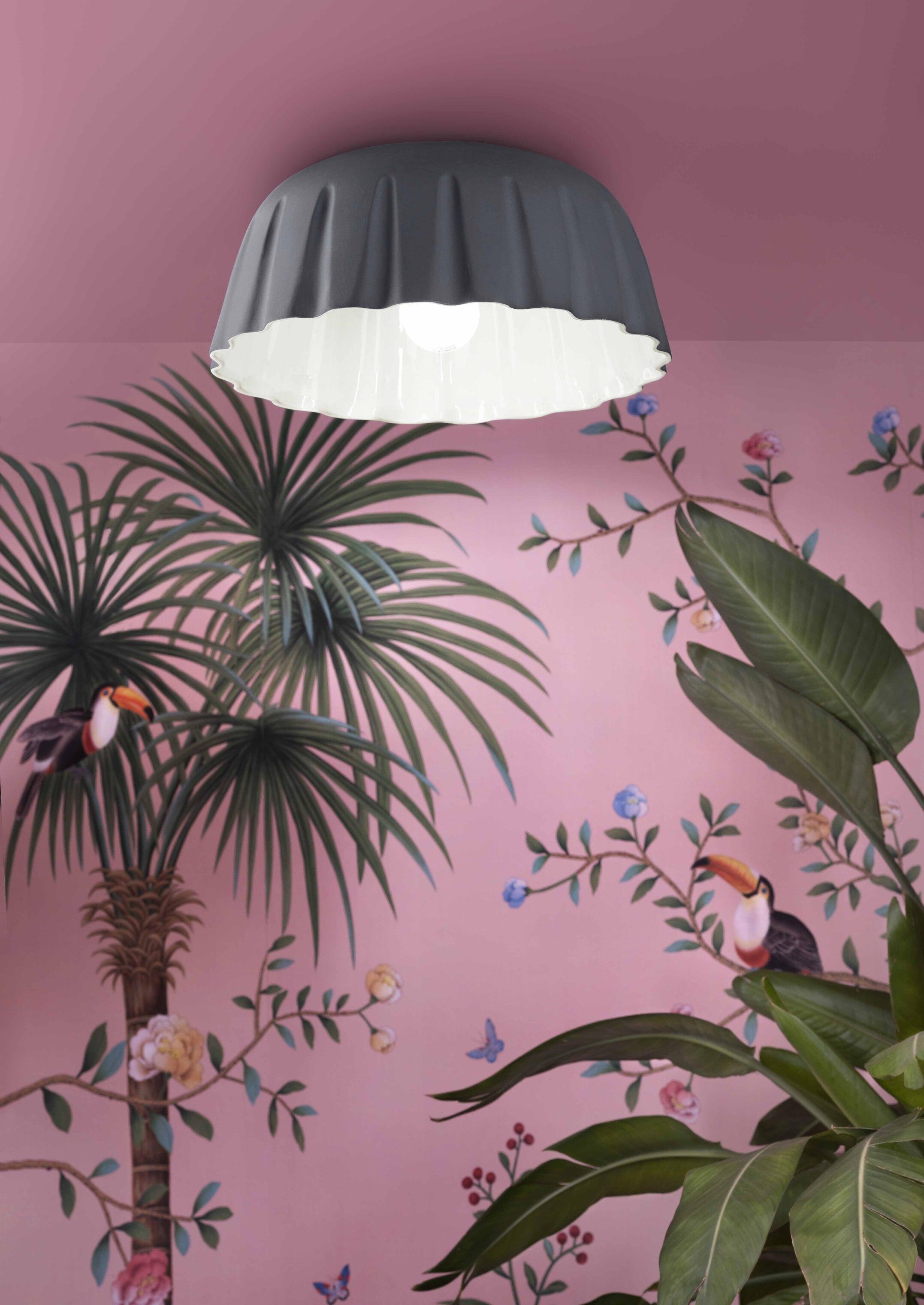 Suspension MADAME GRÈS Ø40cm en céramique plissée 2 tailles et 4 coloris par Ferroluce