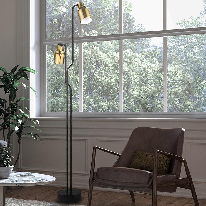 Lampadaire LED Super 2 en acier, verre et marbre par Seyvaa